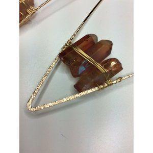 Gold Tone Geometric Metallic Large Earring Crystal